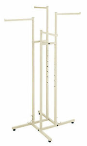 Clothes Rack Four Way 4 Straight Arms Clothing Garment Retail Display Ivory 72