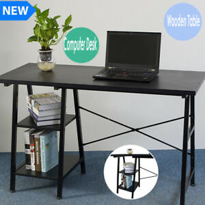Wooden Computer Pc Desk Black Home Office Workstation Laptop Writing Table Shelf