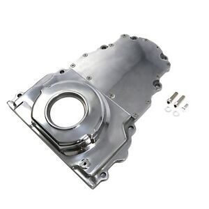 Engine Timing Chain Cover Chevy Gm 2 Piece Ls Polished Aluminum No Cam Sensor