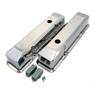 Polished Aluminum Valve Covers Tall Recessed Ball Mill 58 86 Sbc Chevy 350 400
