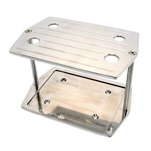 Optima Group 35 Red Yellow Battery Hold Down Tray Aluminum Polished Ball Mill
