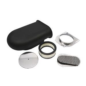 Hilborn Style Aluminum Black 4 Barrel Carburetor Smooth Hood Air Scoop Kit