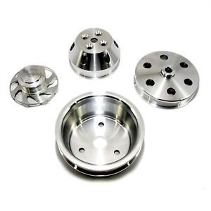 Aluminum Long Water Pump Serpentine Billet Pulley Set Kit Small Block Chevy 350