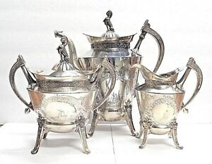 Rare 1873 Victorian Reed Barton 2626 Silverplate Coffee Pot Creamer Sugar
