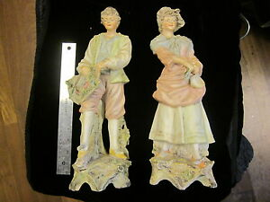 Pair Huge Unsigned Antique French Quality Bisque Porcelain Statue Figurines 16