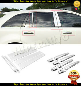 For 2007 2010 Ford Edge Polished 6pcs Door Pillar Trims 8pcs Chrome Handle Cover