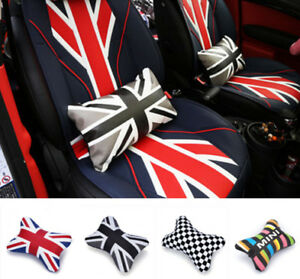 Union Jack Pu Leather Checkered Auto Car Lumbar Cushion Chair Seat Pad Cover
