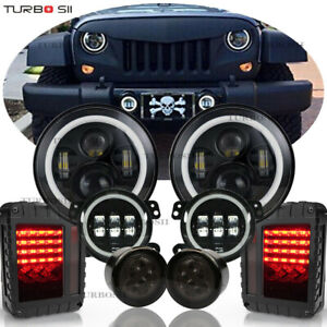 For Jeep Wrangler Jk 7 Round Led Headlights Turn Signal Fog Reverse Tail Lamp