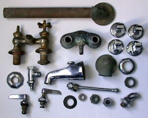 Vintage Antique Plumbing Parts And Faucets Lot Group