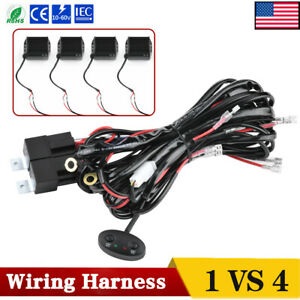 Universal Wiring Harness Kit 40a 12v Switch Relay Fuse For 4 Led Work Light Pods