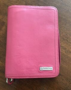 Compact Pink Full Grain Leather Franklin Covey Planner Binder Zipper 6 Ring