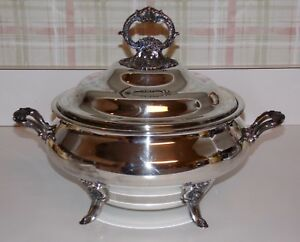 Wallace Baroque Covered Soup Tureen 239 Silverplate Footed Excellent