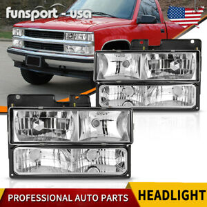 4pcs For 94 98 Chevy C10 c k 1500 Tahoe Silverado Chrome Headlights Replacement