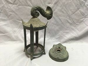 Vtg Heavy Bronze Brass Arts Crafts Mission Porch Sconce Light Fixture 335 18e