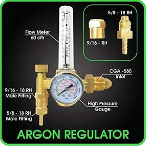 Argon Regulator Tig Welding Equipment Welder Mig Co2 Flowmeter 10 60 Cfh 0 Psi