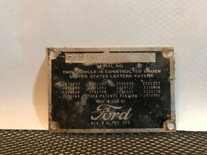 51 1951 Ford F2 3 4 Ton Pickup Truck Cowl Data Body Plate Trim Code Tag