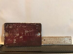 49 1949 Olds Oldsmobile 88 Cowl Data Body Plate Trim Code Tag