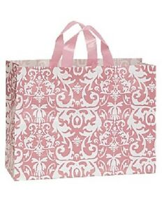 Plastic Bags Shopping 50 Pink Damask Frosty Merchandise Gift 16 X 6 X 12 Frosted