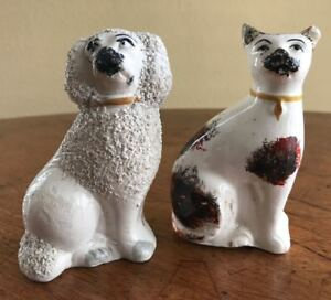 Antique Staffordshire Figurines Poodle Cat