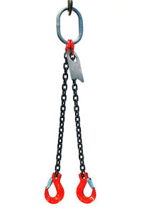 3 8 6 Foot Grade 80 Dos Double Leg Lifting Chain Sling Oblong