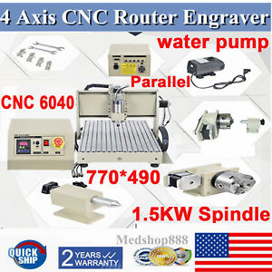 6040 Cnc Router Engraver 1 5kw 4 Axis Engraving Mill Drilling Machine 3d Graphic
