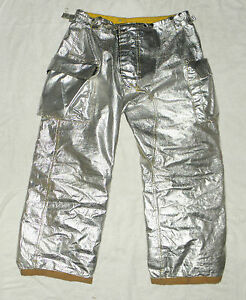 Morning Pride Silver Aluminated Rip Stop Fire Fighting Pants Nomex Size 40 X 30