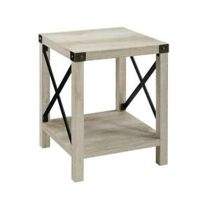 18 Rustic Urban Industrial Metal X Accent Side Table White Oak