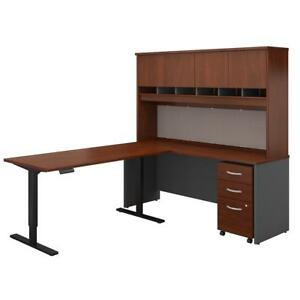 Series C 72w L Shaped Desk With 60w Height Adjustable Return Hutch And Storage