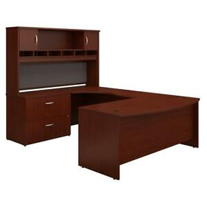 Series C 72w Left Handed Bow Front U Shaped Desk With Hutch And Storage