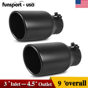 Pair 3 Inlet Exhaust Tips 4 5 Outlet 9 Long Rolled End Tailpipe Stainless