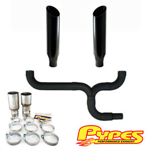 8 Miter Cut Black Double Stack Stainless Pypes Exhaust Kit Ram 2500 3500 Diesel