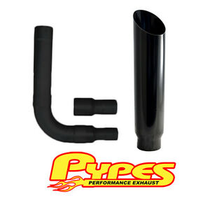 Black Miter Cut Stack Exhaust Chevy 2500 3500 Hd Diesel 6 Stainless Pypes Kit