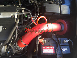Coated Red For 2pc 2004 2007 Honda Accord 2 4 L4 Sulev Dx Lx Ex Se Air Intake