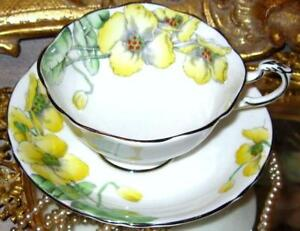 Beautiful Vintage Yellow Poppy Floral Hand Painted Tea Cup And Saucer