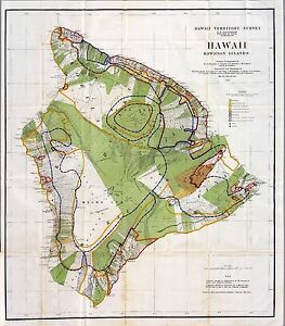 1906 Antique Map Poster Hawaiian Islands Coastal Plantations Survey Hawaii 1