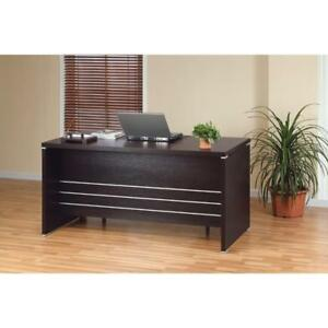 Contemporary Style Desk With 2 Locking File Drawers Dark Brown