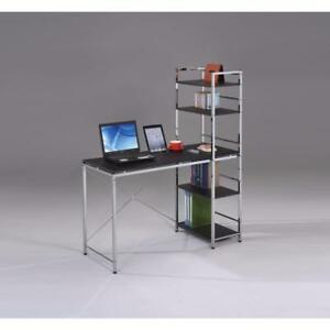 Computer Desk With Shelves Black Chrome Silver