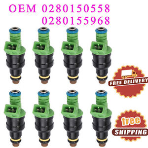 8x 42lb 440cc Ev1 Fuel Injectors Oem 0280150558 For Ford Chevrolet Mustang Sohc