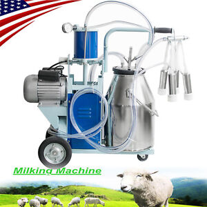 Fda 304 Stainless Steel Electric Milking Machine Milker Farm Goats Bucket 25l