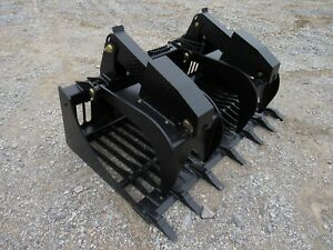 Bobcat Skid Steer Attachment 66 Rock Bucket Grapple With Teeth Ship 199
