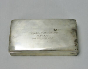 Poole Sterling Silver 77 Wood Lined Cigarette Trinket Box Captain 18th Fis 1956