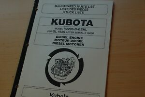 Kubota V2203 b Diesel Engine Parts Manual Book Catalog Gehl Skid Steer Loader