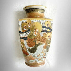 Satsuma Vintage Large Japanese Vase With Gold And Faces Meiji