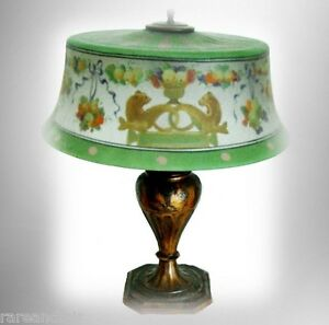 Antique Pairpoint Matched Shade And Base Lamp Otters And Cornicupia