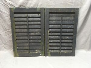 Small Pair Antique House Window Wood Louvered Shutters 24x16 Shabby Vtg 357 18e