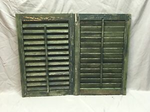 Small Pair Antique House Window Wood Louvered Shutters 26x17 Shabby Vtg 362 18e
