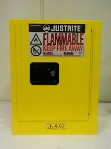 Justrite Safety Cabinet For Flammable combustible Liquids Yellow Steel 890200