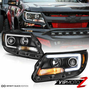 For 15 20 Chevy Colorado Black Clear Projector Headlight Led Neon Tube Drl Lamp