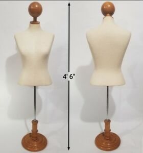 Female Torso Mannequin W Wooden Display Stand adjustable Height High Quality