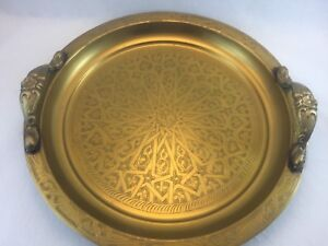 Antique Middle East Brass Signed Tray With Heavy Handles